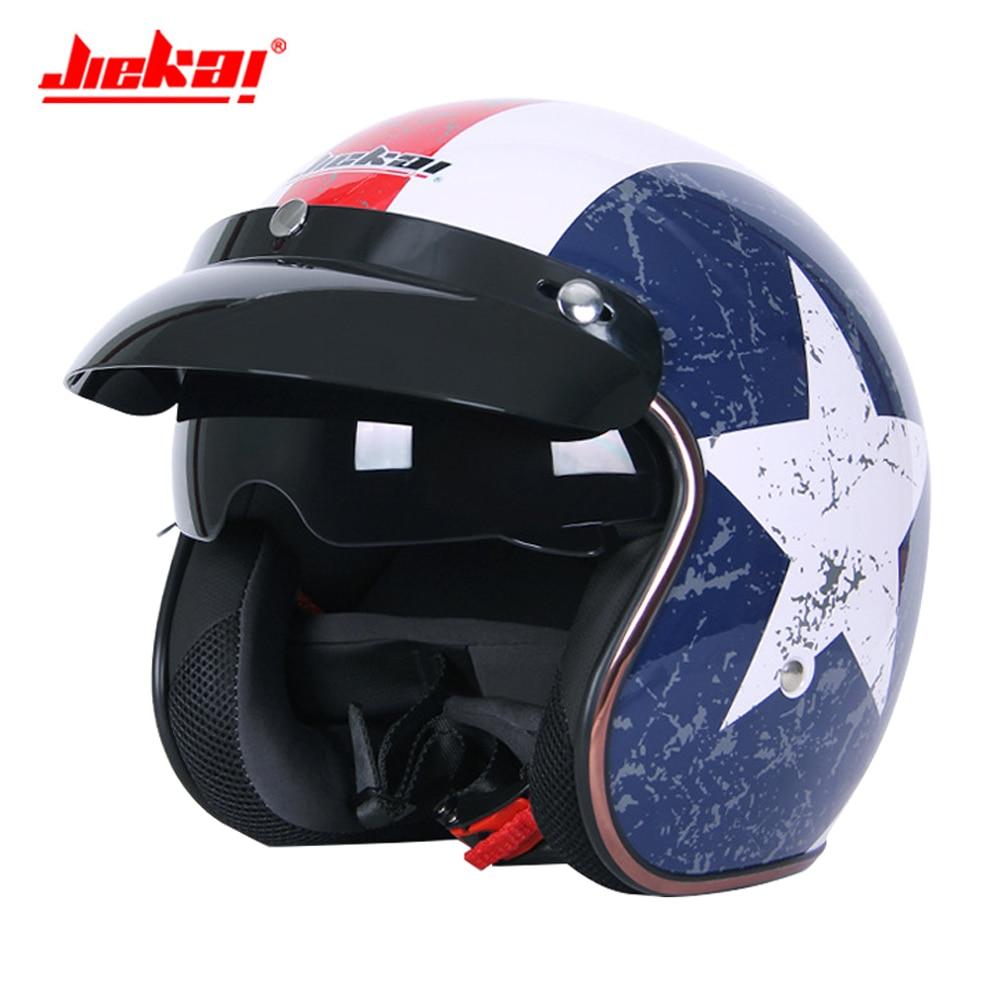 JIEKAI Motorcycle Helmet 3/4 Open Face Half Helmet Casque Moto Retro Scooter Chopper Motorcycle Moto Helmet With Double Lens цена