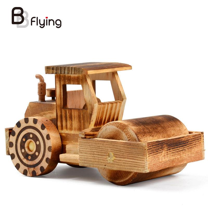 Wooden Simulation Street Roller Car Model Kids Toys Gifts Crafts Decoration