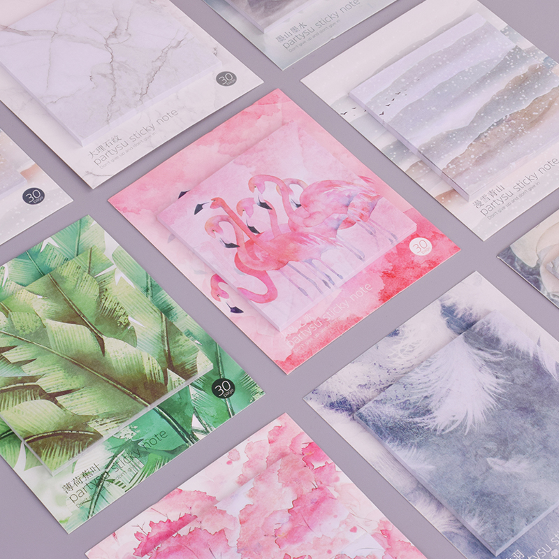 Red Leaves Green Plants Memo Pad Planner Sticky Note Paper Sticker Kawaii Stationery Pepalaria Office School Supplies