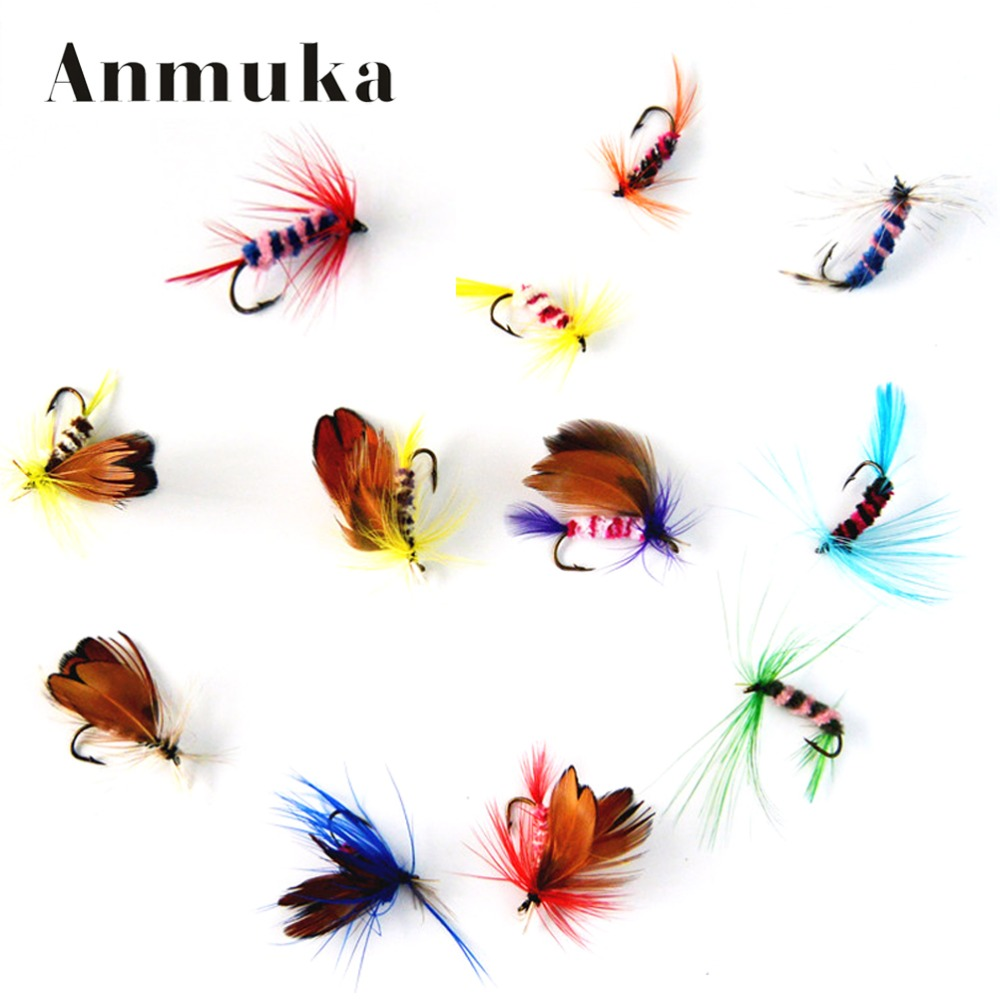 Купить со скидкой Anmuka 12pcs/set Various Dry Fly Fishing Trout Salmon Dry Flies Fish Hook Lures fishing fishing pesc
