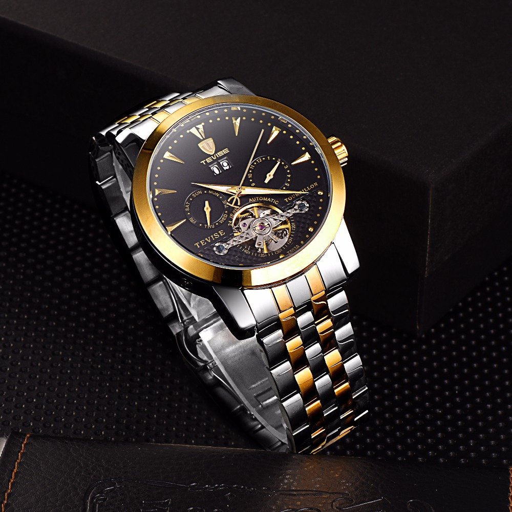 Tevise Skeleton Automatic Watch Men Mechanical Watches Mens Self Winding Stainless Steel Band Auto Date Day Week Month T803A tevise men automatic self wind gola stainless steel watches luxury 12 symbolic animals dial mechanical date wristwatches9055g