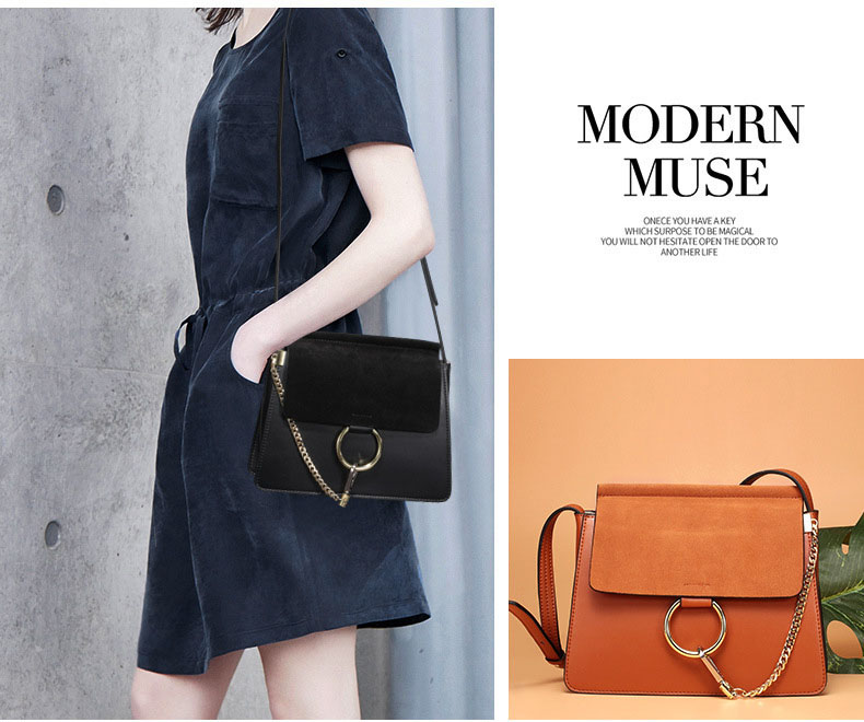 100% Genuine Leather Women Shoulder Bags Famous Brand Metal Ring Chains Women Crossbody Bags Retro Natural Leather Lady Handbag (13)