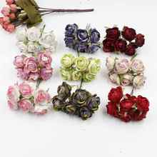 6pcs/lot high quality flannel rose DIY wedding party flower home arrangement material handmade simulation bouquet