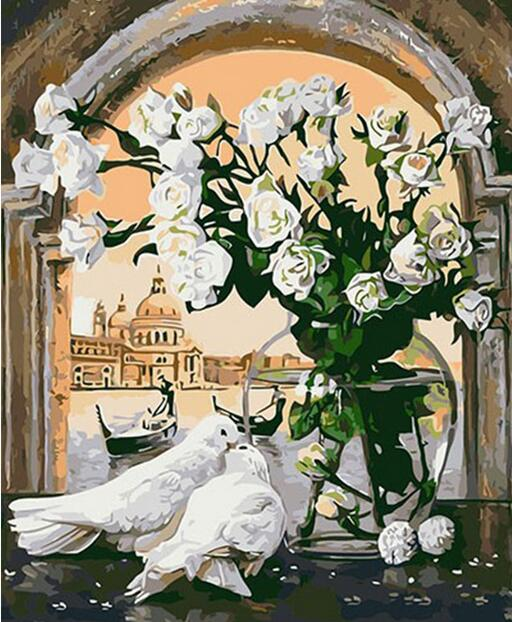 Digital Oil Painting Animal Peace Pigeon DIY Handmade Flower Pictures Paintings By Numbers On Linen Cuadros Decoration 40x50CM
