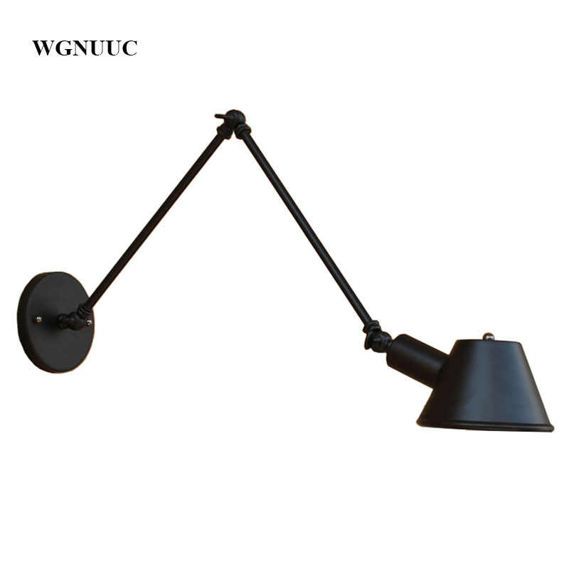 Retro Industrial Wall light Adjustable Long Arm Vintage Iron Wall Lamp Antique Black Wall Lamp With 40W Edison Bulb for Bedroom