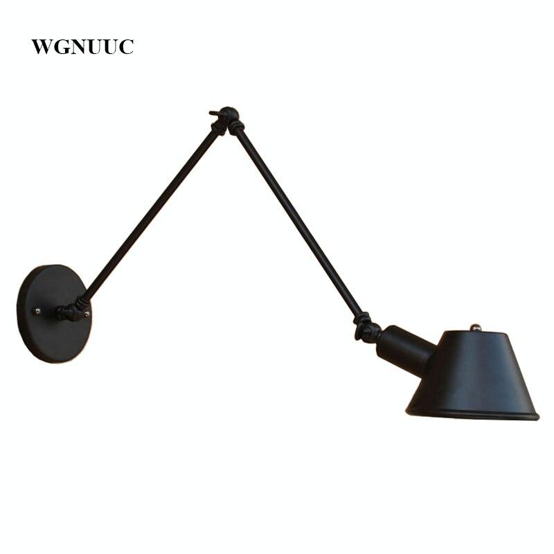 Ретро промышленный настенный светильник, регулируемая длинная рука, винтажный Железный настенный светильник, античный черный настенный светильник с 40 Вт лампочкой Эдисона для спальни