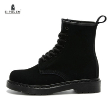 Unisex Genuine Leather Suede Ankle Boots  Shoes Martin Motorcycle Black Women Spring Lace Up
