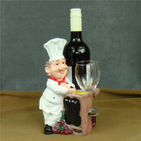 Creative Chef Sculpture Wine Stand Decorative Resin Cook Statue Goblet Holder Bar Drinking Utility Ornament Craft Accessories