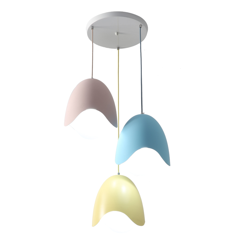 Macaron modern pendant lights colorful metal egg shell post modern children room study foyer decoration droplight free shipping free shipping k5 metal shell