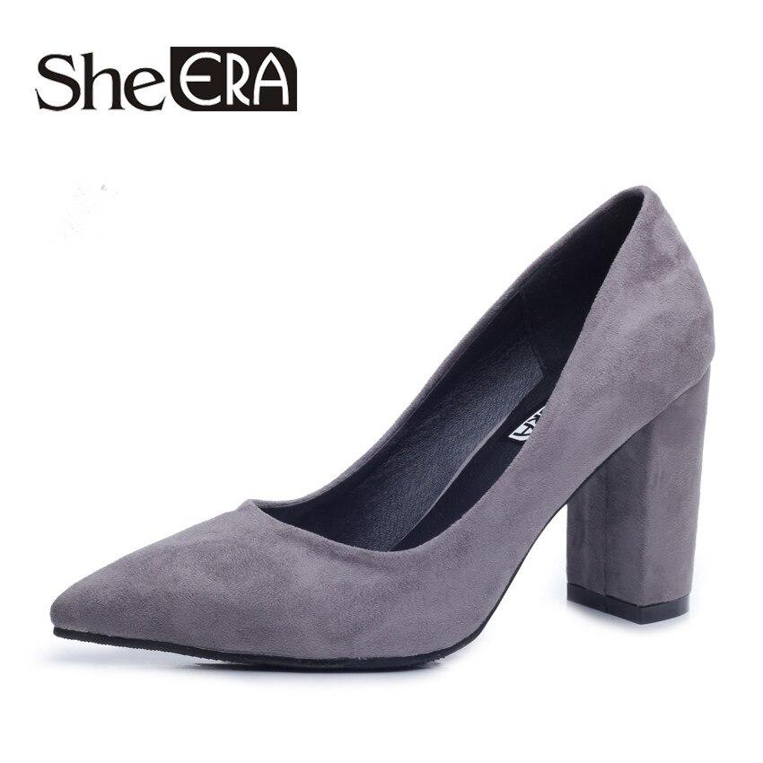 She Era Size 34-39 Women Pumps New Fashion Sexy Elegant Square Toe High Heel Woman Shoes Red/Yellow/Purple/Black/Brown/Gray