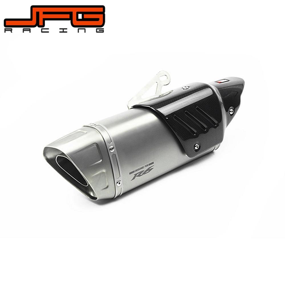 51 мм Нержавеющаясталь трубки полный Системы выхлопной трубы волокно Реальные углеродного волокна тепловой защиты Обложка для YAMAHA YZF R6 2006
