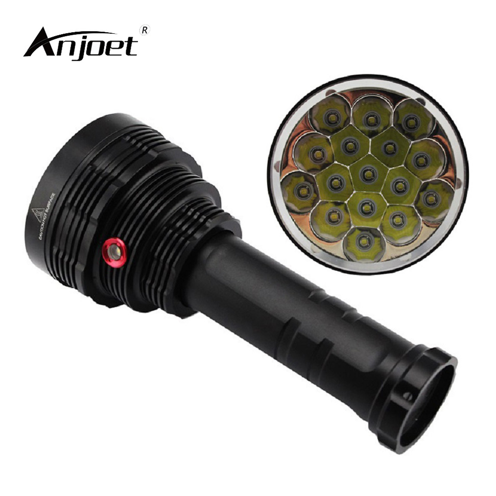 ANJOET LED Flashlight 4 Mode 16*XML T6 LED 20000 lumen 18650 Outdoor flashlamp,torch,lantern,camping 9 cree xml t6 led 20000 lumen 18650 26650 outdoor waterproof floodlight flashlight torch lantern camping light lamp hunting