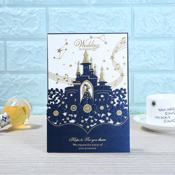 (50 pieces/lot) Romantic Castle Navy Blue Wedding Invitation Card Customized Print Bride Groom Marriage Party Invitations IC119