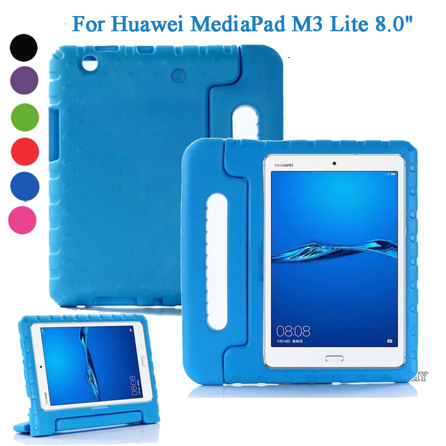 reputable site 58a2c 7ea1d US $16.46 |For Huawei MediaPad M3 Lite 8.0 Case Protective kids baby  shockproof shell handle Support stand EVA silicone capa funda Cover-in  Tablets & ...
