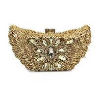 Орел животных выдалбливают золотой кристалл Для женщин Свадебная вечеринка вечерняя сумочка Клатчи металла дамы руки Сумки (88134a g)