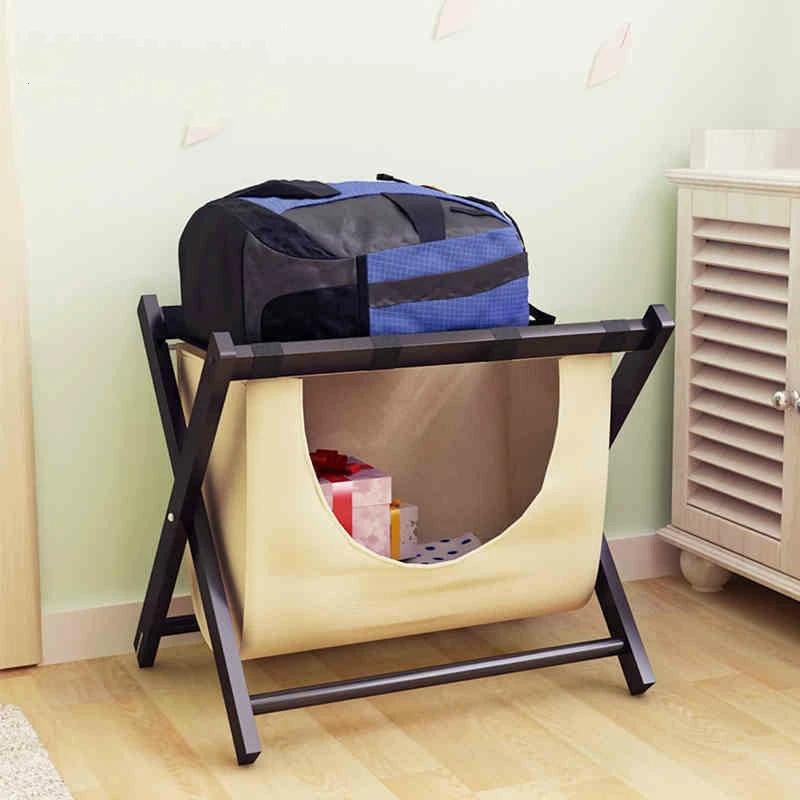 simple solid wood hotel luggage rack room living room simple modern storage folding laundry storage rack