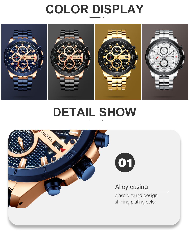 HTB1K3paie3tHKVjSZSgq6x4QFXa6 CURREN Men Watch Luxury Watch Chronograph