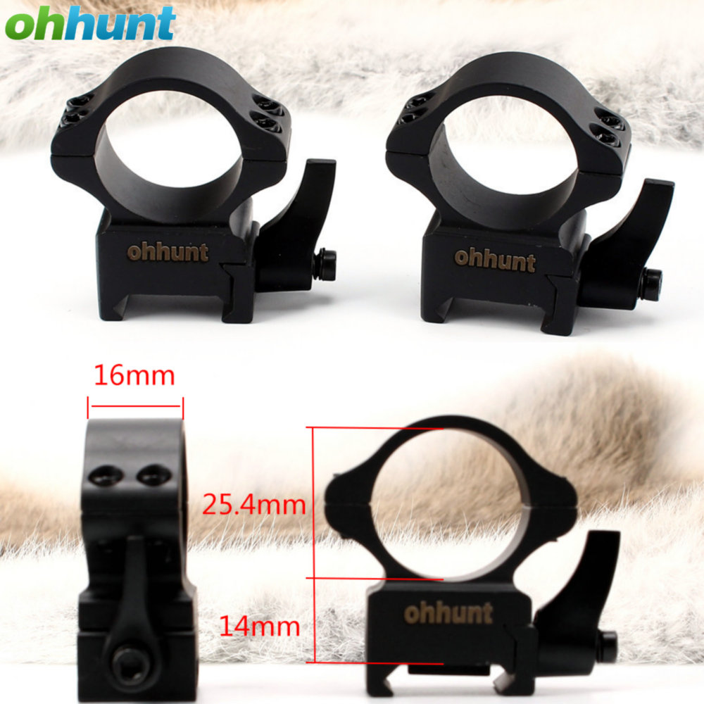 ohhunt 25 4mm 1 inch 2PCs Medium Profile Steel Quick Release Picatinny Weaver Scope Rings Tactical
