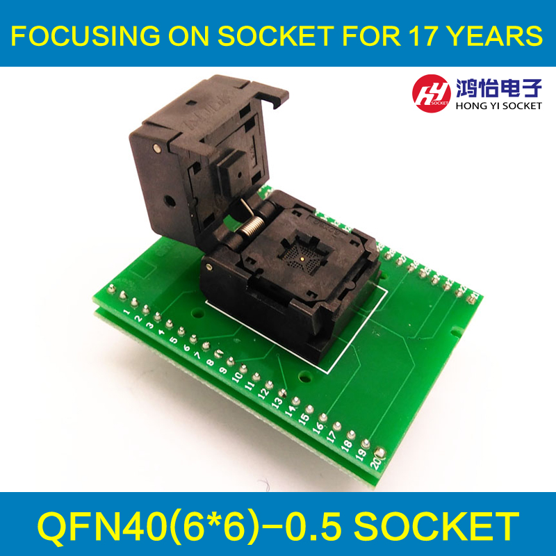 QFN40 MLF40 Programming Socket IC550-0404-012-G IC Test Socket Pitch 0.5mm Clamshell Chip Size 6*6 Flash Adapter Burn in Socket qfp40 ic test conversion chip ic programming block qfp40