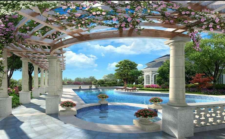 Villa de luxe 3D piscine toile de fond 3d peintures murales papier peint pour salon papier peint pour murs 3 d pour salon