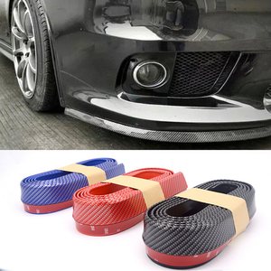 2.5m Car Bumper Lip Strip Protectors Splitter Body Kits Spoiler Bumpers Car Door Bumper Carbon Fiber Rubber Lip 65mm Width Strip