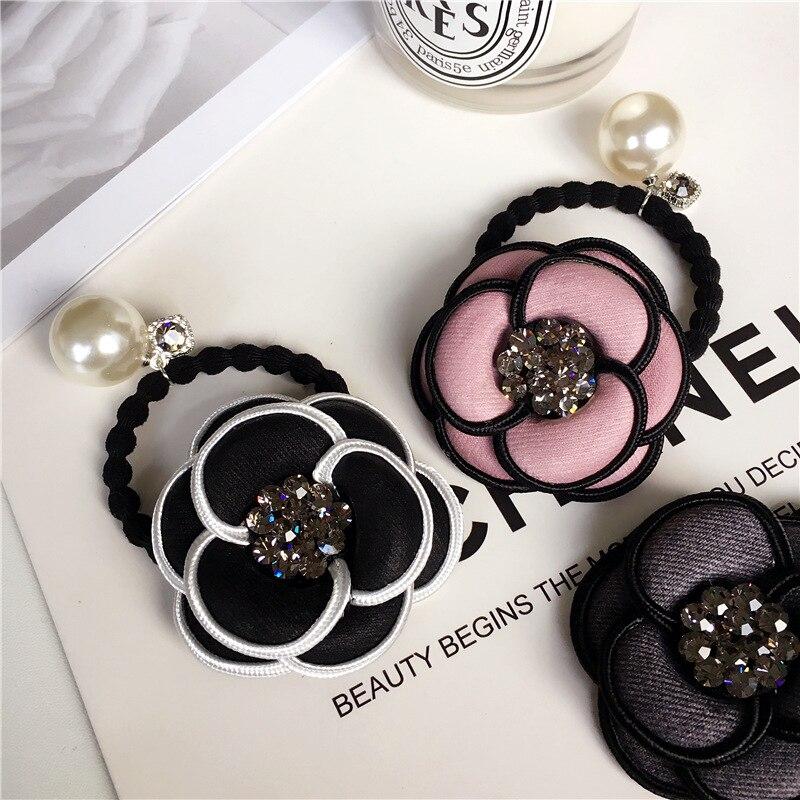 Korea fashi camélia pérola flor rystal acessórios para o cabelo arcos elásticos faixas de cabelo faixa de borracha anel de cabelo para mulher