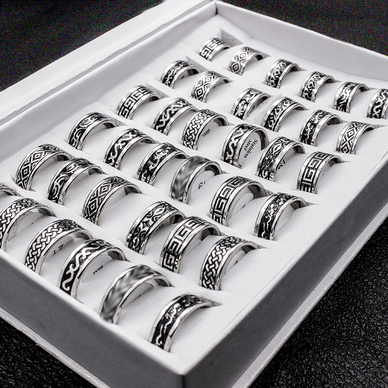 20 Pieces Mix Style Boho Stainless Steel Men Ring Men Anillos Fashion Width 8mm Bulk Punk Rings Jewelry For Women Anillos Mujer
