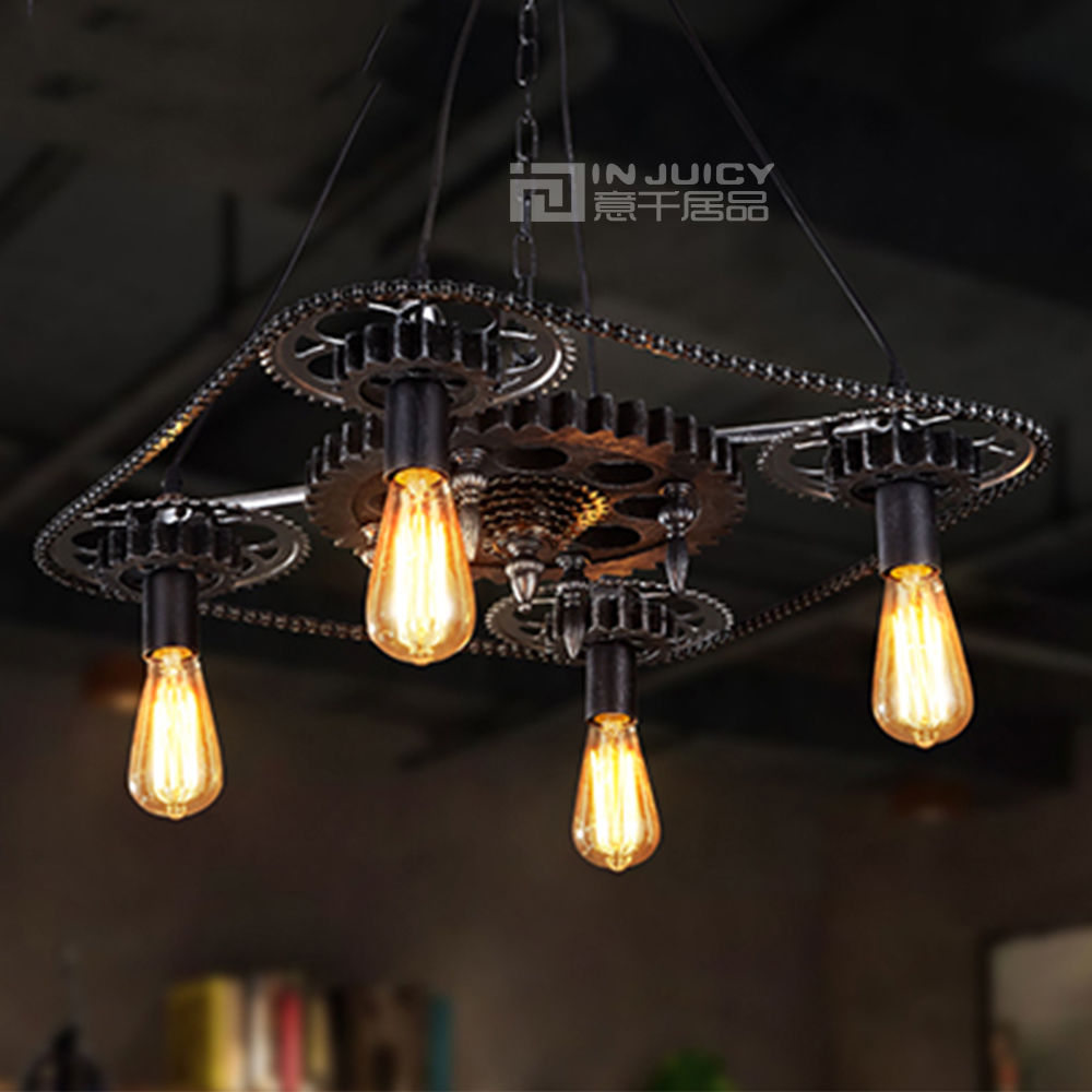 Vintage Led Industrial Gear Chain Droplight Bedroom Dining Pendant Lamp Home Loft Balcony Pendant Light Fixtures Cafe Lighting loft vintage industrial pendant light fixtures copper glass shade pendant lamp restaurant cafe bar store dining room lighting