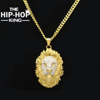 2017 New Style Hip Hop Stainless Steel Lion Head Pendant Necklace Mens Iced Out Crystal Bling