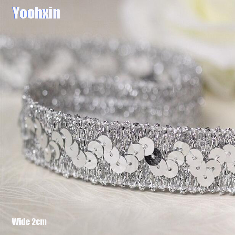 2CM Wide HOT Sequin Silver Embroidery Flower Lace Fabric Trim Ribbon DIY Sewing Applique Collar Cord Wedding Dress Guipure Decor