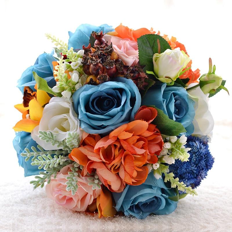 Champagne bleu doux camélia mariée demoiselle d'honneur fleur mariage Bouquet fleur artificielle Rose Bouquet Bouquets de mariée naturels