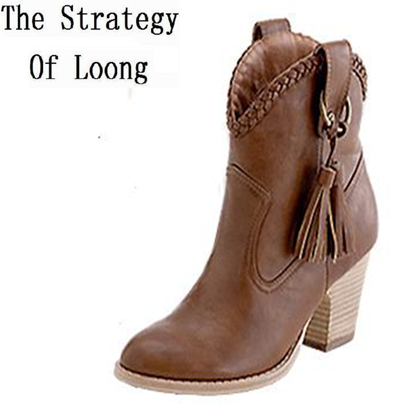 Thick High Heel Tassel Buckle Pointed Toe font b Women b font Winter Ankle font b
