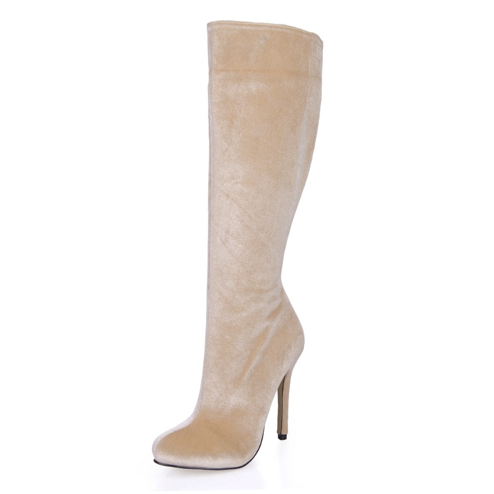 plus size 35-43 new arrival fall sexy high heels knee high boots fashion beige women long boots elegant ladies winter shoes boot hot 2017 new arrival women winter shoes sexy high heels knee high boots women round toe solid fashion platform pumps for ladies