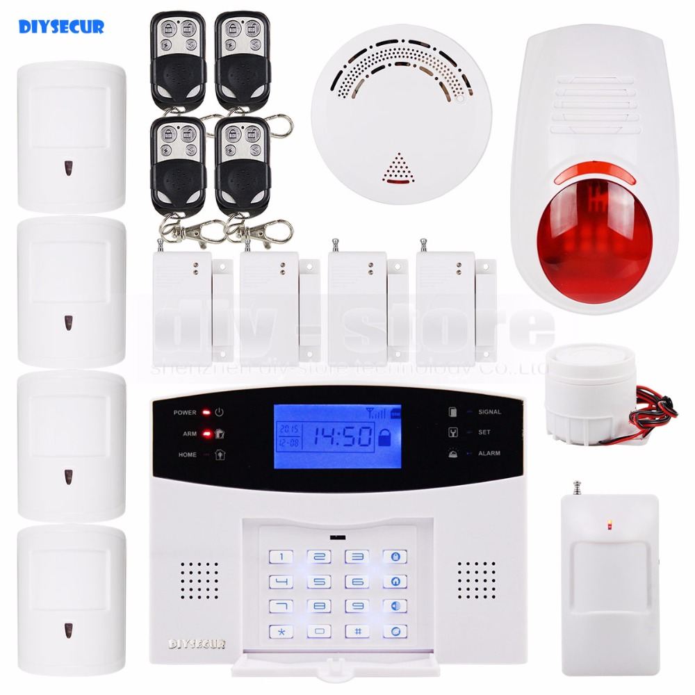 DIYSECUR LCD Wireless & Wired GSM SMS Home Security Alarm System + 4 Pet Friendly PIR + Wireless Flash Siren + Smoke Sensor wireless alarm accessories glass vibration door pir siren smoke gas water sensor for home security wifi gsm sms alarm system