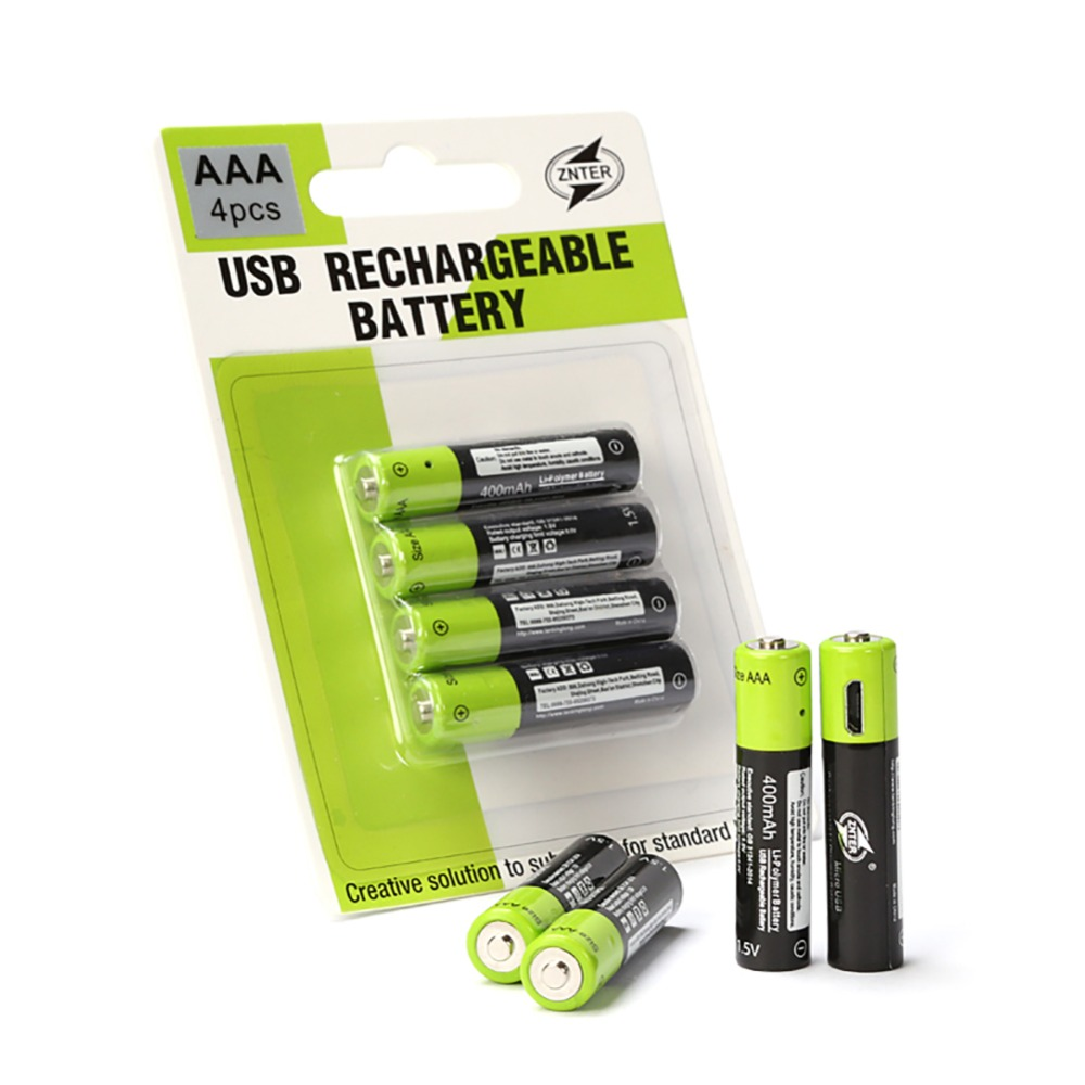4pcs/lot AAA li-polymer Rechargeable Battery with USB Charging Cable ZNTER 1.5V 400MAH Rechargeable Lithium Battery Charger Sets znter 2pcs lot 1 5v lithium li polyme 6000mah usb d size rechargeable battery d type recycle li ion powerful battery
