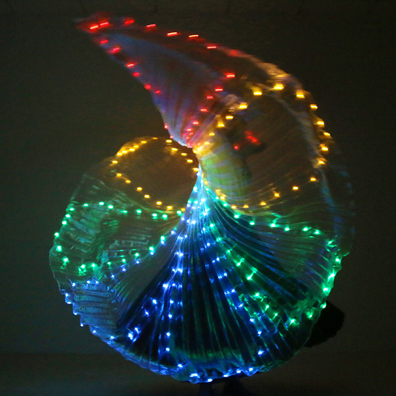 Colorful Belly Dance Performance Costume LED Wings Dance Accessories Girls LED Wings Costume LED Butterfly Wings With Stick