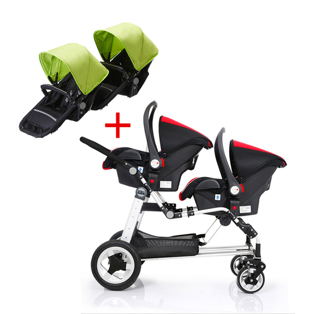Total 4 seats high landscape twins baby stroller foldable pram twin ...