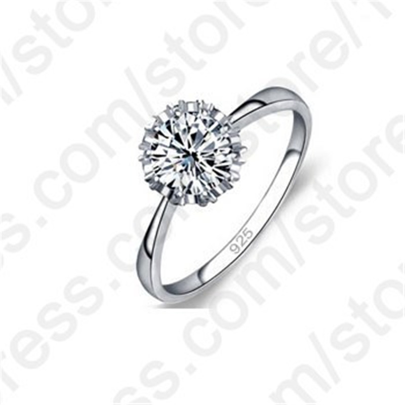 JEXXI High Quality 3 Styles AAA Cubic Zirconia 925 Sterling Silver Jewelry Classic Engagement Ring for