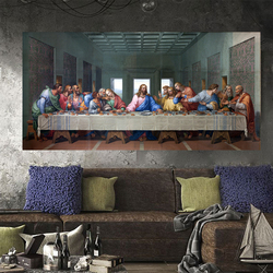 CHENFART Christian Decor Last Supper Paintings Wall Art Canvas Prints By Da Vinci Wall Pictures Living Room Home Decor