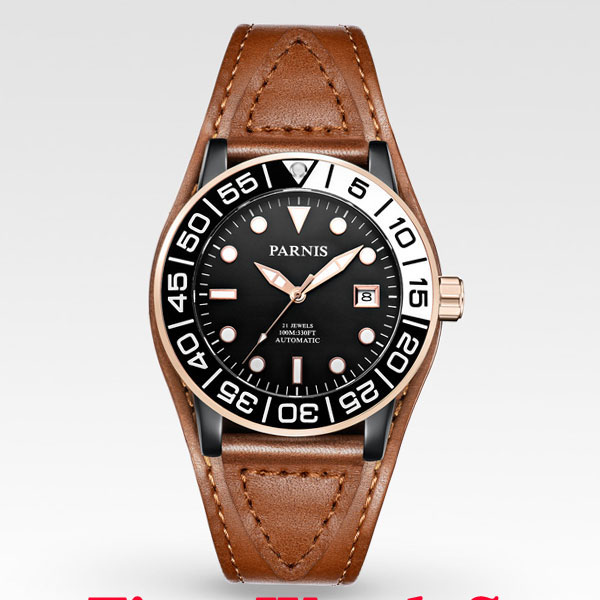 Parnis 42mm black dial golden edge hands PVD case sapphire glass MIYOTA Automatic mens watch men 394Parnis 42mm black dial golden edge hands PVD case sapphire glass MIYOTA Automatic mens watch men 394