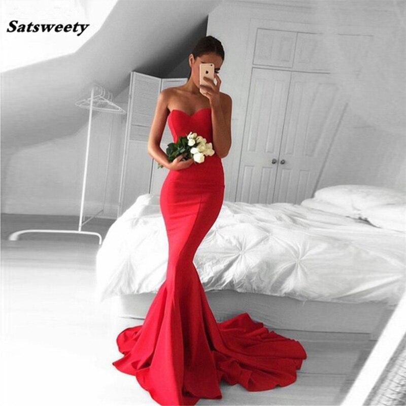 Sexy Mermaid Women Bridesmaid Dresses Long Prom Dresses Sweetheart Red Prom Dress 2020 Sweep Train Vestidos De Graduacion