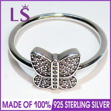 LS High Quality 100% Real 925 Sterling Silver Sparkling Butterfly Ring For Women DIY Fashion Rings 100% Fine Jewelry H