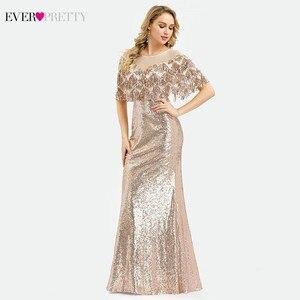 Image 3 - Ever Pretty Vestidos de Noche de lujo de Dubái, color oro rosa, sirena, borla, lentejuelas, EP00991RG, elegantes, formales, para fiesta, 2020