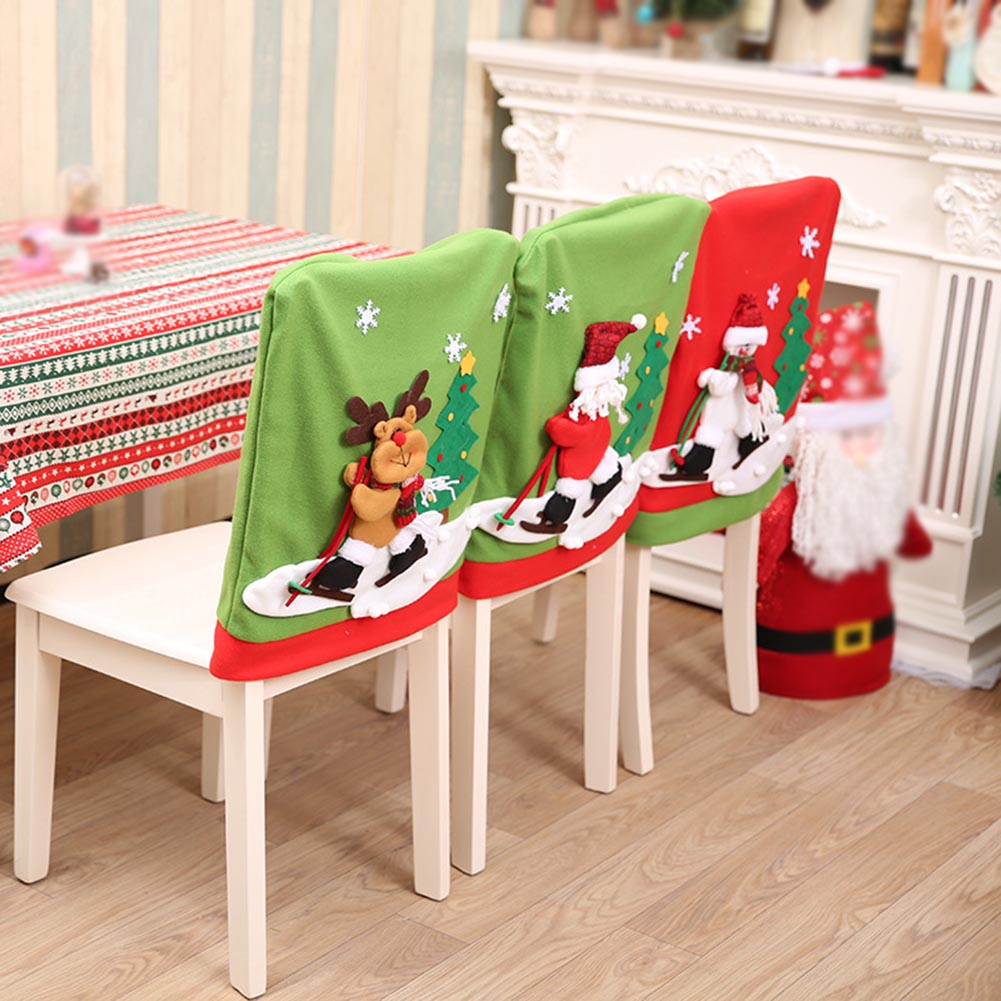 1Pc Christmas Santa Claus Chair Cover Skiing Style Event Xmas Party Dinner Chairs Corving Decorations