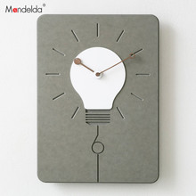 Square Light Bulb Factory Direct Low Price High Quality Fashion Wall Clock Decor Home Gift Big Grey&Black