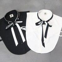 Słodkie Preppy Styl Odpinany Wstążka Łuk Kołnierz Czarny Biały Fałszywy Collar Shirt dla Kobiet Fałszywy Koszule Obroże