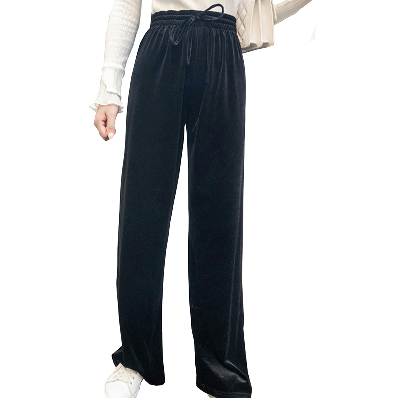 fashion Casual Corduroy Wide Leg Pants 2019 Spring and autumn new trousers women black High waist Elastic Pants Capris