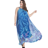 Summer Plus Size 7xl Dresses For Chubby Women Blue Sea Flower Print Chiffon Swing Dress Long Maxi Beach Dress Robe Longue Femme