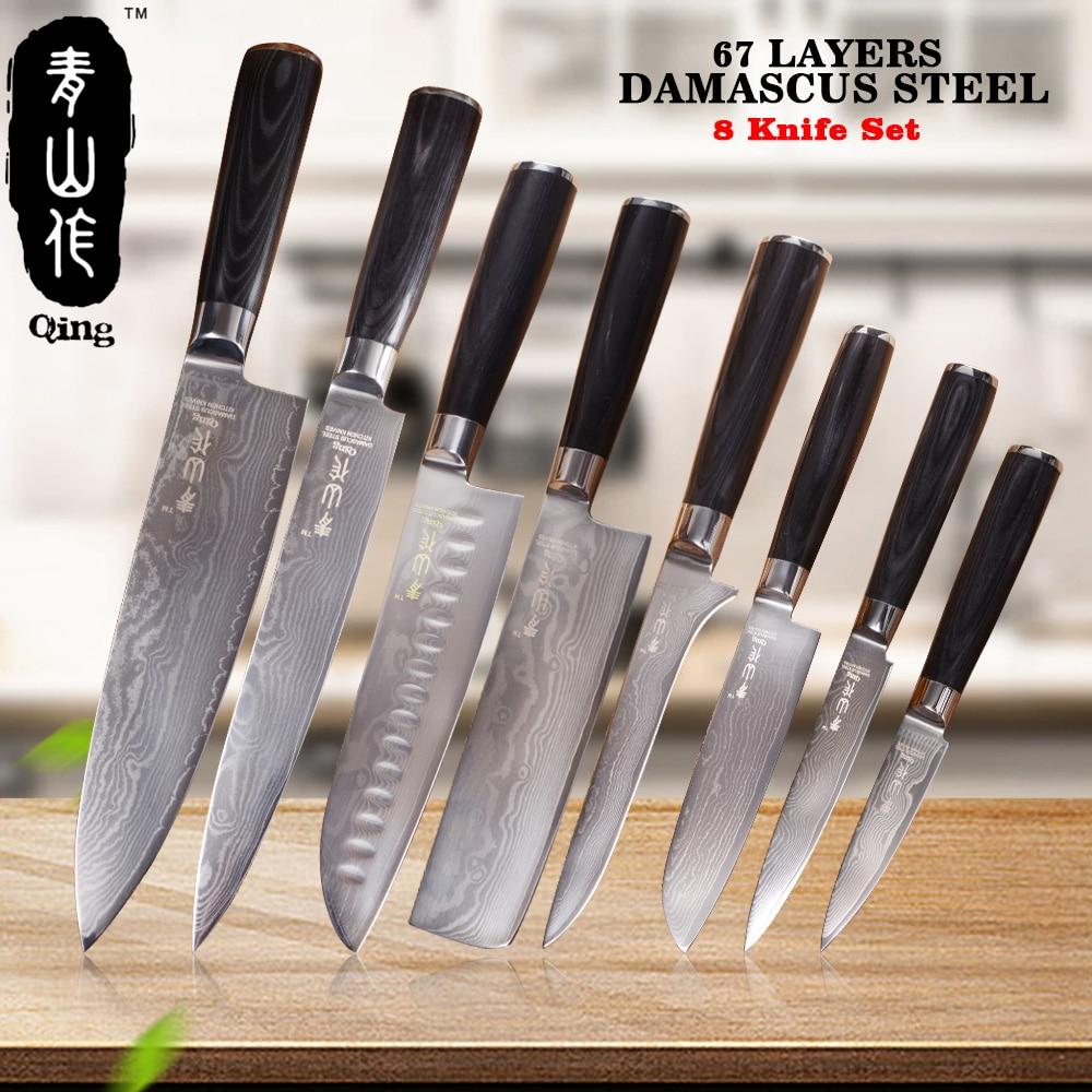 QING 8 pcs VG10 Damas Couteaux Haut Grade Cuisson Outils 67 Couches Japonais Damas Acier 8 8 7 7 6 5 5 3.5 Couteau de Cuisine