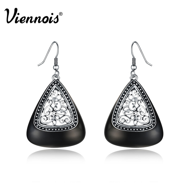 Viennois Retro Hollow Out Dangle Earrings For Woman Rhinestone Green Black Enamel Craft Vintage Drop
